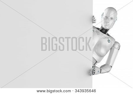 3d Rendering Female Cyborg Or Robot With White Blank Paper Isolated On White