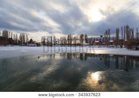 Sanatorium Aurora, Kyrgyzstan - January 4. 2020. Winter Frozen Lake. Nature Of Kyrgyzstan