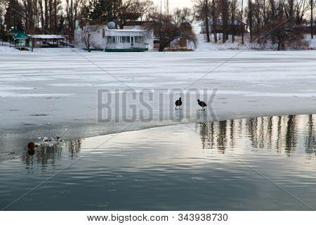 Sanatorium Aurora, Kyrgyzstan. Winter Frozen Lake. Nature Of Kyrgyzstan