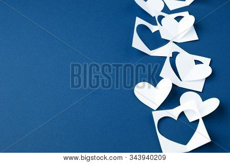 Valentine Background With White Blue Paper Craft Hearts Border On Classic Blue Background, Happy Lov