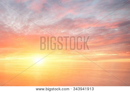 Majestic Summer Sunset Over The Ocean. Fantasy Landscape Background. Sunset Sea Water Ocean Wave. Su