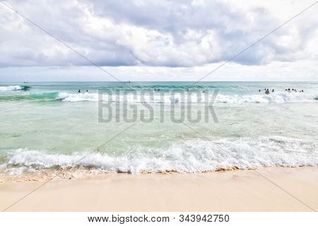 Tropical Beaches Of Riviera Maya Near Cancun, Mexico. Concept Of Summer Vacation Or Winter Getaway T