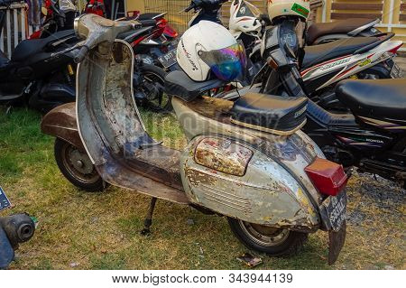Jepara, Central Java, Indonesia - July 1, 2019: Close-up Of Vespa Scooters. Vespa Is An Italian Scoo