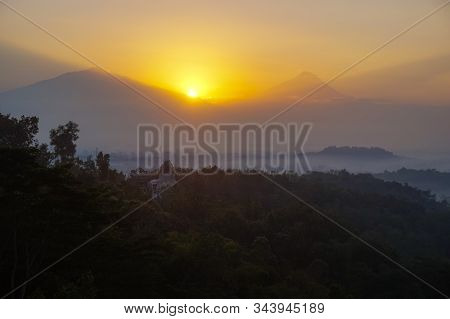 Mountain Mist In Sunrise,mist On Sunrise,mist Over Mountain During Sunrise.beautiful Landscape In Th