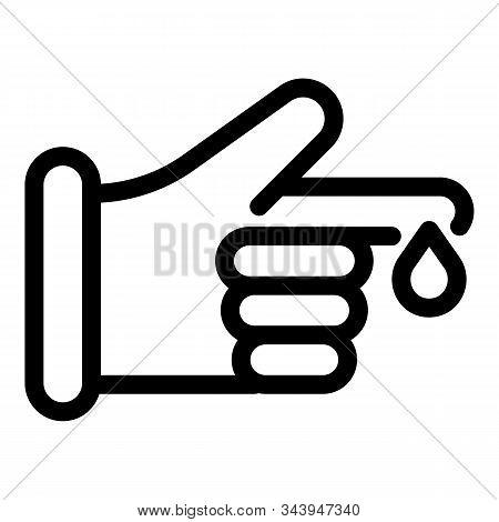 Finger Blood Test Icon. Outline Finger Blood Test Vector Icon For Web Design Isolated On White Backg