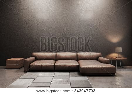 Contemporary Living Room Sofa ,side Desk ,lamp And Carpet With Gray Wall Background. 3d Illustration