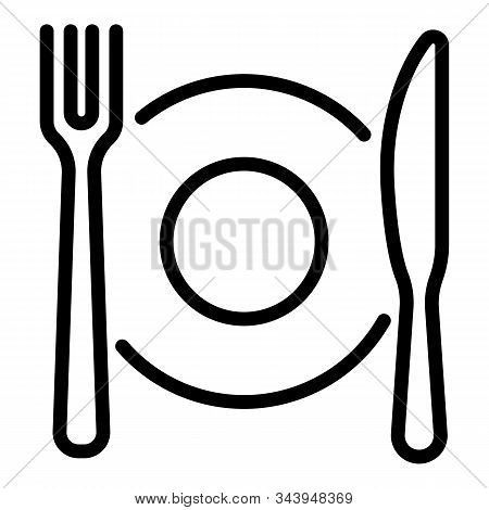 Plate Fork Knife Icon. Outline Plate Fork Knife Vector Icon For Web Design Isolated On White Backgro