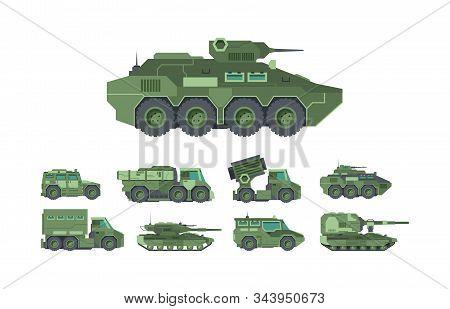 Military Cars, War Vehicles Flat Vector Illustrations Set