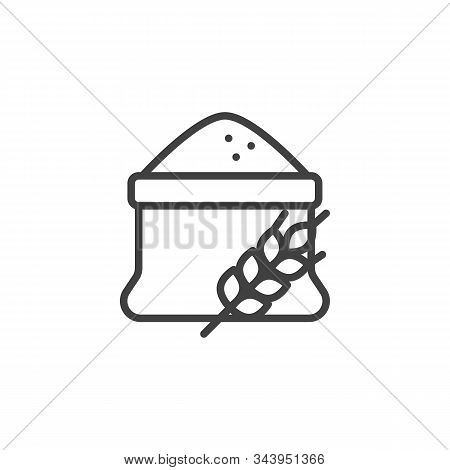 Flour Bag And Spike Of Wheat Line Icon. Linear Style Sign For Mobile Concept And Web Design. Open Fl