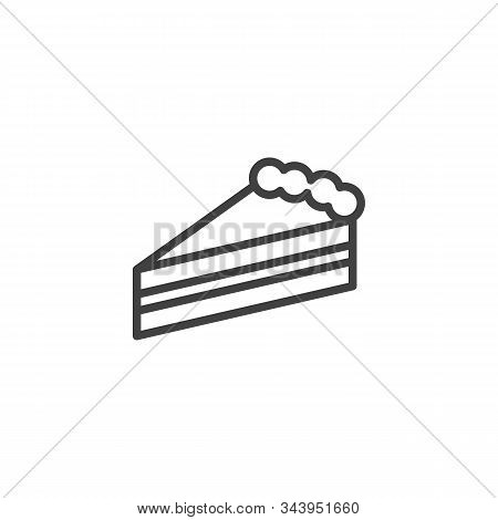 Piece Of Cheesecake Line Icon. Linear Style Sign For Mobile Concept And Web Design. Slice Of Cheesec