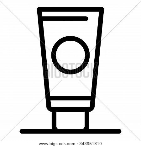 Woman Sunscreen Icon. Outline Woman Sunscreen Vector Icon For Web Design Isolated On White Backgroun