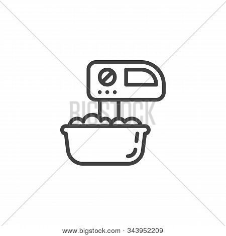 Mixing Dough Line Icon. Linear Style Sign For Mobile Concept And Web Design. Mixer And Dough Bowl Ou