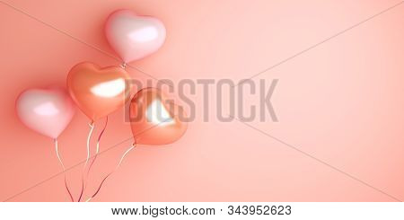 Happy Valentines Day, Valentines Day Background, Heart Shape Pink Rose And White Balloon On Backgrou