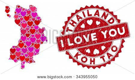 Love Collage Koh Tao Thai Island Map And Distressed Stamp Seal With I Love You Caption. Koh Tao Thai