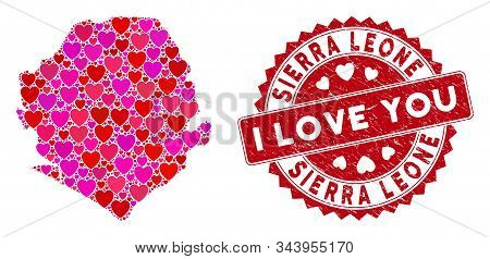 Lovely Mosaic Sierra Leone Map And Corroded Stamp Seal With I Love You Badge. Sierra Leone Map Colla
