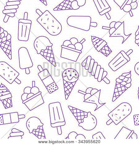 Ice Cream Background, Sweet Food Seamless Pattern. Vanilla Icecream, Frozen Yogurt, Popsicle Lolly L