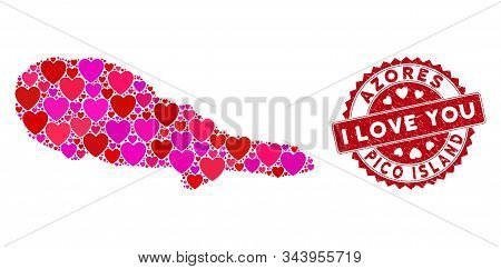 Love Collage Pico Island Map And Corroded Stamp Watermark With I Love You Words. Pico Island Map Col