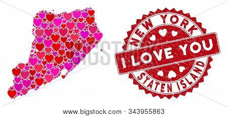 Love Collage Staten Island Map And Rubber Stamp Seal With I Love You Caption. Staten Island Map Coll