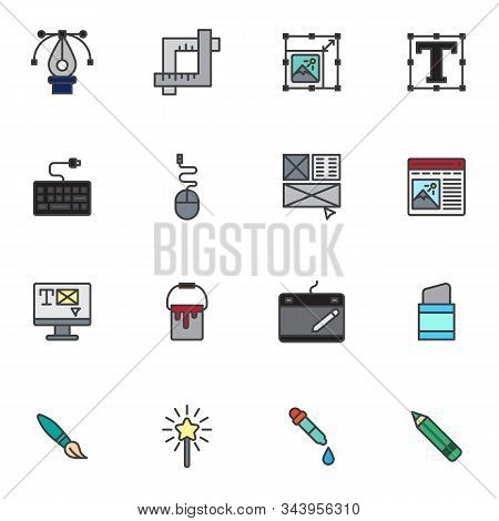 Creative Drawing Tool Filled Outline Icons Set, Line Vector Symbol Collection, Linear Colorful Picto