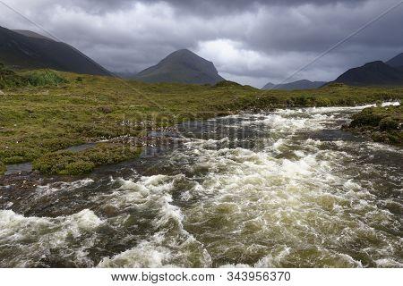 River Sligachan In Spate With Beinn Dearg Mheadhonach (651m Centre) From Sligachan Old Bridge, Isle