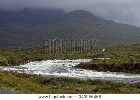 River Sligachan In Spate With Cuillin Hills, Isle Of Skye, Western Isles; Scotland