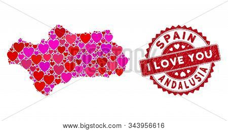 Love Collage Andalusia Province Map And Grunge Stamp Seal With I Love You Words. Andalusia Province