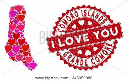 Lovely Mosaic Grande Comore Island Map And Grunge Stamp Seal With I Love You Phrase. Grande Comore I