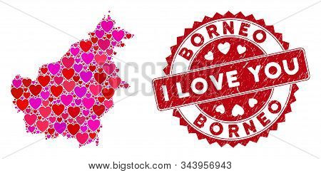 Valentine Mosaic Borneo Island Map And Corroded Stamp Seal With I Love You Text. Borneo Island Map C