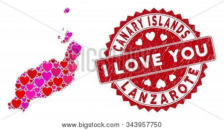 Love Collage Lanzarote Islands Map And Rubber Stamp Seal With I Love You Message. Lanzarote Islands