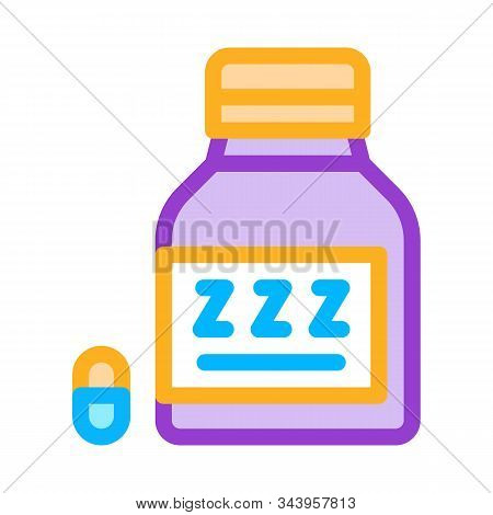 Bottle Insomnia Pills Icon Vector. Outline Bottle Insomnia Pills Sign. Isolated Contour Symbol Illus