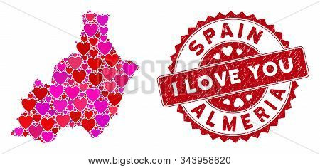 Love Collage Almeria Province Map And Distressed Stamp Seal With I Love You Words. Almeria Province