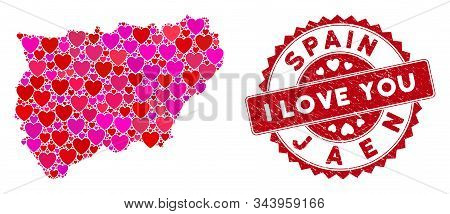 Lovely Collage Jaen Spanish Province Map And Corroded Stamp Seal With I Love You Text. Jaen Spanish