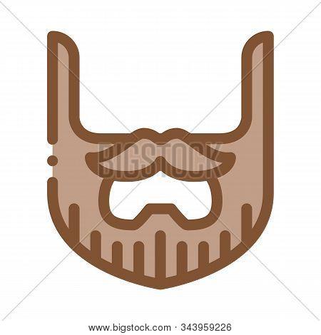 Beard Mustache Whisker Icon Vector. Outline Beard Mustache Whisker Sign. Isolated Contour Symbol Ill
