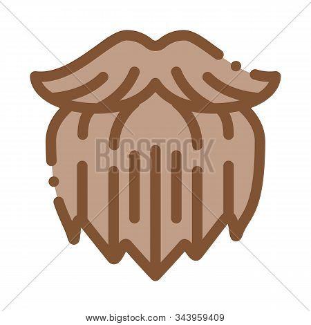 Human Brutal Bushy Beard Icon Vector. Outline Human Brutal Bushy Beard Sign. Isolated Contour Symbol