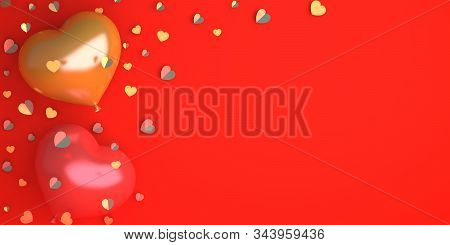 Happy Valentines Day, Valentines Day Background, Red And Gold Heart Shape Balloon Confetti On Backgr