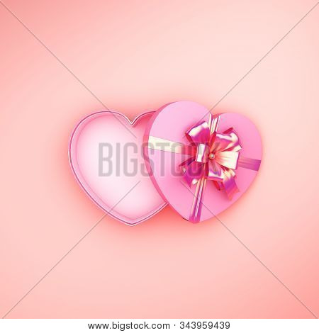 Happy Valentines Day, Valentines Day Background, Opened Heart Shape Gift Box Gold Ribbon On Pink Ros