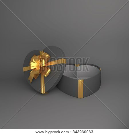Happy Valentines Day, Valentines Day Background, Black Opened Heart Shape Gift Box Gold Ribbon On Gr