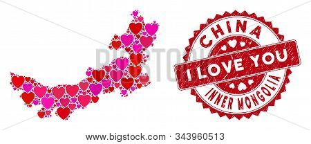Love Collage Chinese Inner Mongolia Map And Rubber Stamp Watermark With I Love You Words. Chinese In