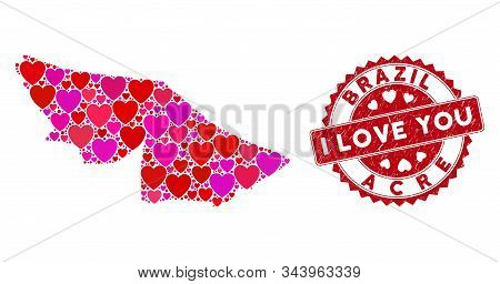 Valentine Collage Acre State Map And Corroded Stamp Seal With I Love You Caption. Acre State Map Col