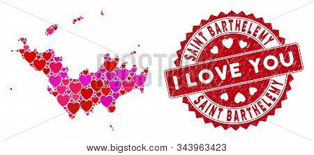 Valentine Collage Saint Barthelemy Map And Grunge Stamp Seal With I Love You Caption. Saint Barthele