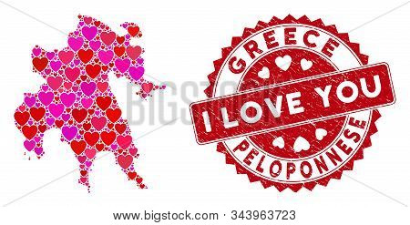 Love Mosaic Peloponnese Peninsula Map And Distressed Stamp Seal With I Love You Text. Peloponnese Pe