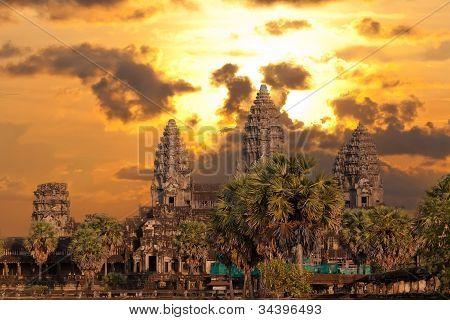 Angkor Wat Temple On Sunset