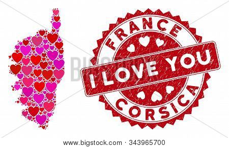 Lovely Collage Corsica France Island Map And Grunge Stamp Watermark With I Love You Text. Corsica Fr