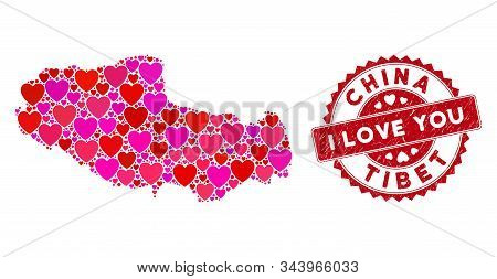 Love Collage Tibet Chinese Territory Map And Rubber Stamp Seal With I Love You Caption. Tibet Chines