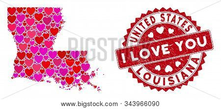 Love Collage Louisiana State Map And Distressed Stamp Watermark With I Love You Caption. Louisiana S
