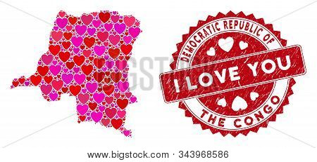 Love Mosaic Democratic Republic Of The Congo Map And Grunge Stamp Watermark With I Love You Phrase.