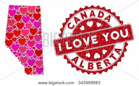 Lovely Collage Alberta Province Map And Rubber Stamp Seal With I Love You Message. Alberta Province
