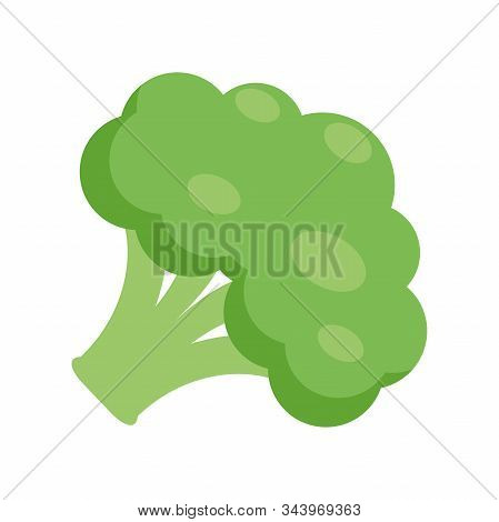 Illustration Of A Broccoli Flat Icon On A White Background