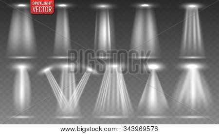 Set Of The White Spotlight Shines On The Stage, Scene, Podium. Bright Lighting With Spotlights. Scen