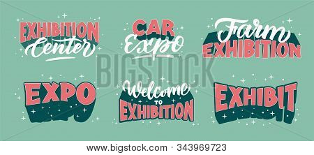 Exhibition Promotion Logos Hand Drawn Vector Illustrations Set. Retro Style Expo Center
